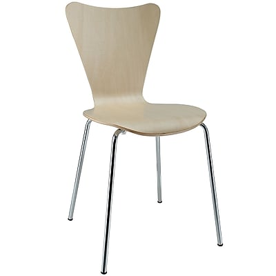 """Modway Ernie 34""""H Solid Plywood Dining Side Chair, Natural"""