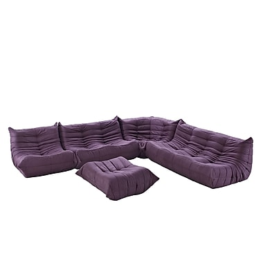 Modway Waverunner 5 Piece Padded Microfiber Sofa Set, Purple