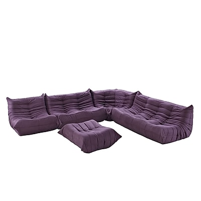 Modway Waverunner 5 Piece Padded Microfiber Sofa Set, Purple