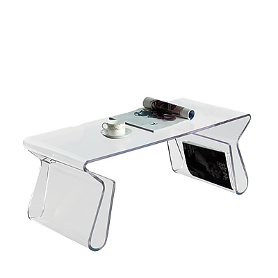Modway Magazine Rectangular Acrylic Coffee Table, Clear