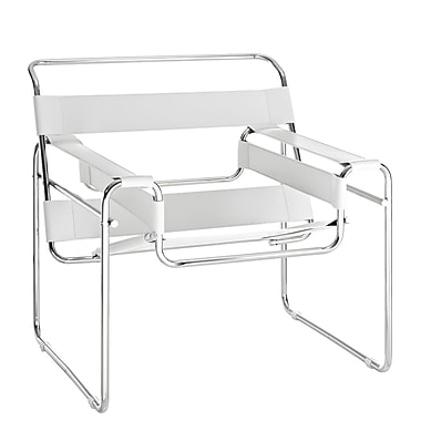 Modway Slingy Leather Lounge Chair, White