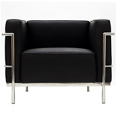 Modway Le Corbusier Style LC3 Leather Armchairs With Foot Caps
