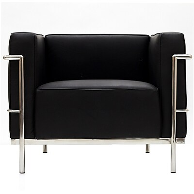 Modway Le Corbusier Style LC3 Leather Armchair With Foot Caps, Genuine Black