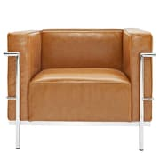 Modway Le Corbusier Style LC3 Leather Armchair With Foot Caps, Tan