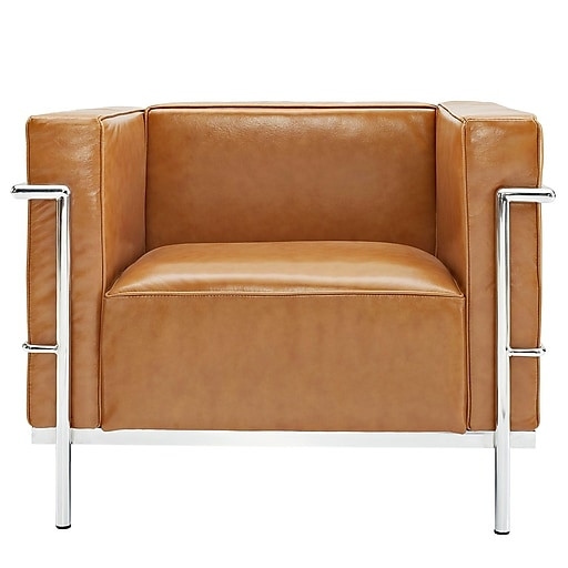 Modway Le Corbusier Style Lc3 Leather Armchair With Foot Caps Tan