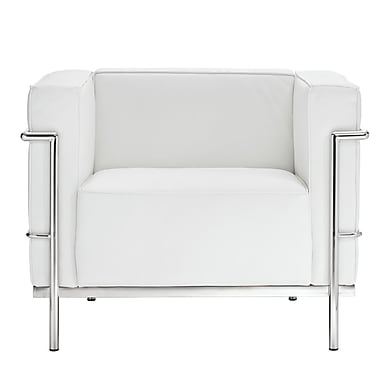 Modway Le Corbusier Style LC3 Leather Armchair With Foot Caps, Genuine White