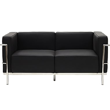 Modway Le Corbusier LC3 Padded Leather Loveseat, Black