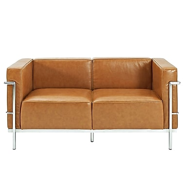 Modway Le Corbusier LC3 Padded Leather Loveseat, Tan