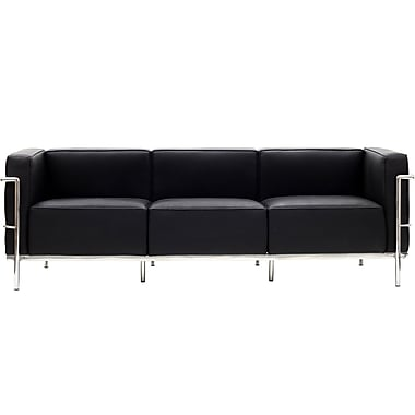 Modway Le Corbusier LC3 Padded Genuine Leather Sofa, Black
