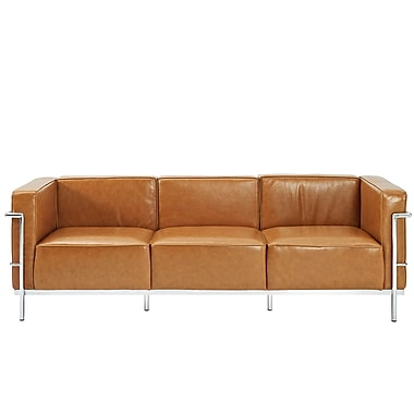 Modway Le Corbusier LC3 Padded Genuine Leather Sofa, Tan