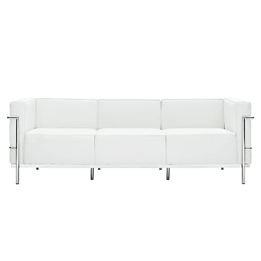 Modway Le Corbusier LC3 Padded Genuine Leather Sofa, White