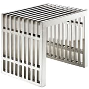Modway Gridiron Small Stainless Steel Bench, Silver
