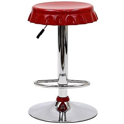 Modway Soda Fiberglass Bar Stool, Red