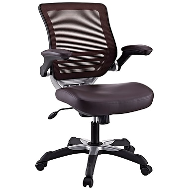 Modway Edge Leather Executive Office Chair, Adjustable Arms, Brown (848387026493)