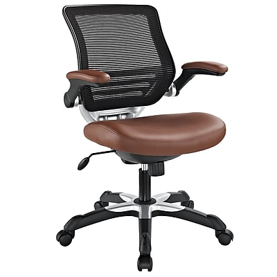 Modway EEI-595-TAN Edge Leatherette High-Back Executive Chair with Adjustable Arms, Tan