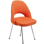"Modway Cordelia 33""H Tweed Fabric Dining Side Chair, Orange"