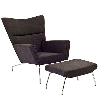 Modway Class Wool Lounge Chair Set, Dark Gray