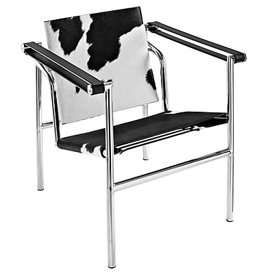 Modway LC1 Pony Hide Leather Lounge Chair, Black/White 512626