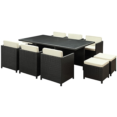 Modway Reversal 11 Piece Glass Outdoor Wicker Patio Dining Set, Espresso/White