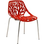 """Modway Stencil 31""""H Plastic Dining Side Chair, Red"""