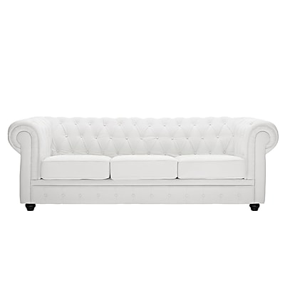 Modway Chesterfield Leather Sofa, White