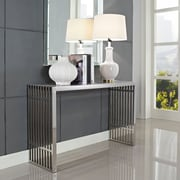 "Modway Gridiron 29"" x 15"" x 46"" Stainless Steel Console Table, Silver"