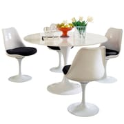 "Modway Lippa 5 Piece Fiberglass Dining Set With 4 Side Chairs and One 48"" Dining Table, Black"