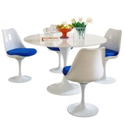"""Modway Lippa 5 Piece Fiberglass Dining Set With 4 Side Chairs and One 48"""" Dining Table, Blue"""