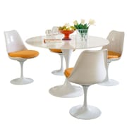 "Modway Lippa 5 Piece Fiberglass Dining Set With 4 Side Chairs and One 48"" Dining Table, Orange"