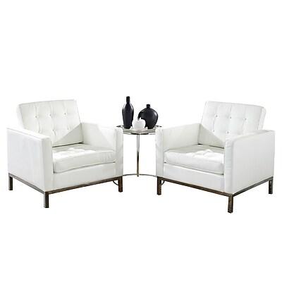 Modway Loft 3 Piece Leather Sofa Set, White