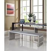 Modway Gridiron Stainless Steel Bench, Silver, 3/Set
