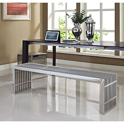 Modway Gridiron Stainless Steel Bench, Silver, 2/Set