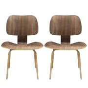 "Modway Fathom 31 1/2""H Plywood Dining Chair, Walnut, 2/Set"