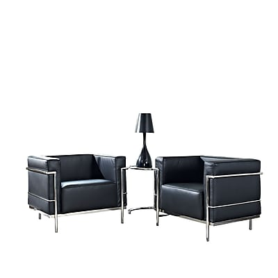 Modway Le Corbusier LC3 3 Piece Leather Sofa Set With Two Armchairs, Black