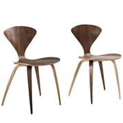 "Modway Vortex 31 1/2""H Plywood Dining Side Chair, Dark Walnut, 2/Set"