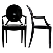 "Modway Casper 36""H Polycarbonate Dining Armchair, Black, 2/Set"