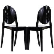 "Modway Casper 36""H Polycarbonate Dining Side Chair, Black, 2/Set"