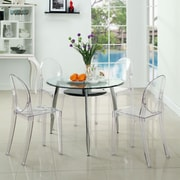 "Modway Casper 36""H Polycarbonate Dining Side Chair, Clear, 4/Set"