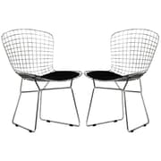 "Modway CAD 32""H Leatherette Dining Side Chair, Black, 2/Set"