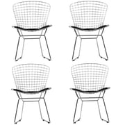 "Modway CAD 32""H Leatherette Dining Side Chair, Black, 4/Set"
