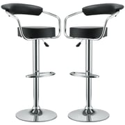 Modway Diner Leather Bar Stool, Black, 2/Set