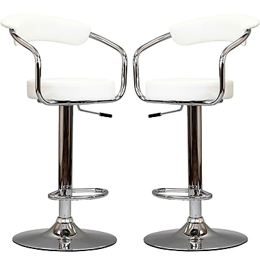 Modway Diner Leather Bar Stool, White, 2/Set
