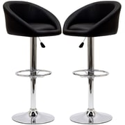 Modway Marshmallow Leather Stool, Black, 2/Set
