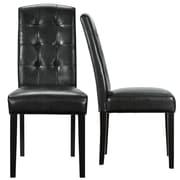 "Modway Perdure 40""H Vinyl Dining Side Chair, Black, 2/Set"