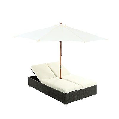 Modway Arrival Synthetic Outdoor Dual Chaise, Espresso/White