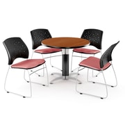 """OFM™ 36"""" Round Multi-Purpose Cherry Table With 4 Chairs, Coral Pink"""