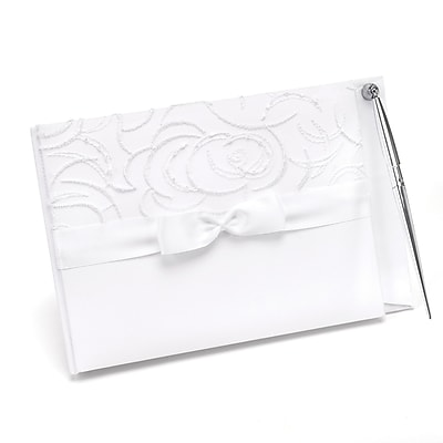 HBH™ Satin & Swirls Guest Book With Pen, Ivory