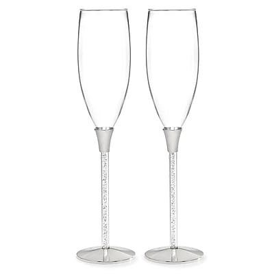 HBH™ Glittering Beads Flute Glasses, Clear/Silver