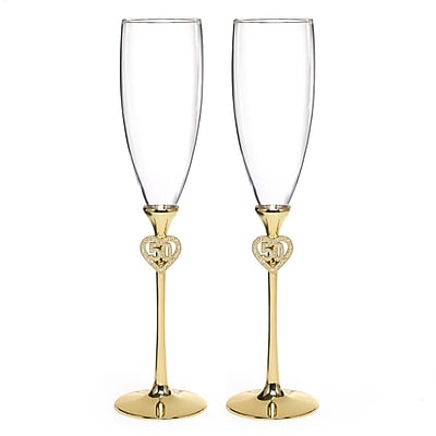 Hortense B. Hewitt, 50th Anniversary Jeweled Flutes With Rhinestone-Studded Heart Accents, Clear