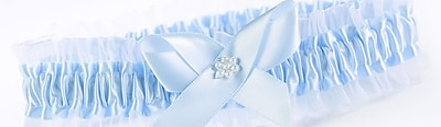 HBH™ Toss Garter With Chiffon Ruffle and Pearl Flower Accent, Blue